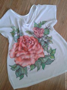 Блуза батик `Роза`, шифон, авторская роспись. Авторский батик Марины Маховской.