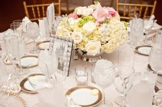 Soft vintage florals from Andrea & Patrick's Classic, Vintage inspired Maryland wedding. Images by Heather Bee Photo.