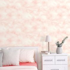 Soft and whimsical, update your space with Cloud Pink Peel and Stick Wallpaper by RoomMates. Offering a fun and fresh way to decorate, Peel and Stick Wallpaper is printed on high quality vinyl that is repositionable and removable, making it a go-to, Self Adhesive Wallpaper, Wallpaper Roll, Peel And Stick Wallpaper, Pattern Wallpaper, Old Bookshelves, Statement Wall, Pink Clouds, Bedroom Wall, Your Space
