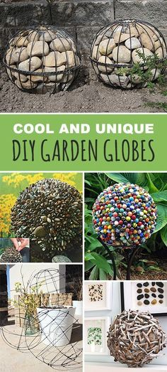Lots of great ideas & tutorials! Explore this blog post and check out all the great  garden globe projects using metal, rocks, marbles, wood...  You can make these! • Cool and Unique DIY Garden Globes #DIYgardenglobes #gardenglobes #DIYgardenprojects #DIYgardenspheres #DIYmetalgardenglobe #DIY