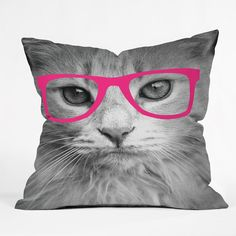 Allyson Johnson Hippest Cat Pink Throw Pillow | Deny Designs Home Accessories