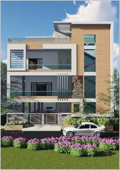 3 Storey House Design, Two Story House Design, Bungalow House Design, House Front Design, Duplex Design, New Model House, Model House Plan, Modern Villa Design, Unique House Design