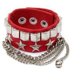 #NewChic - #NewChic Metal Star Tassel Punk Chain Leather Bracelet - AdoreWe.com