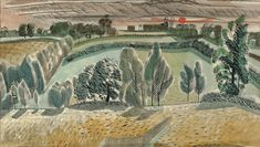 The colourful, joyful work of British painter and illustrator Edward Bawden is on display at the Dulwich Picture Gallery, and it's the perfect thing to see this summer. Watercolor Landscape, Landscape Paintings, Watercolor Art, Dulwich Picture Gallery, Very Nice Images, Olafur Eliasson, Thing 1, The Clash, London Calling