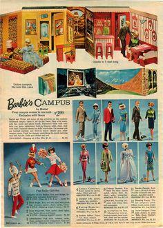 1965 Advertisement Barbie Skipper Car Speedboat Kitchen Dream Room Campus Ken | eBay