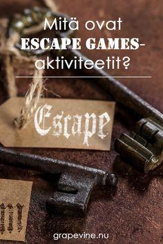 Escape rooms-pelit ovat eräänlaisia live-toimintapelejä, joissa tehdään yhteistyötä tavoitteen saavuttamiseksi. Ryhmissä voi olla 2 – 12 henkilöä. Exit Games, Escape Games, Escape Room, Diys, Goodies, Sweet Like Candy, Bricolage, Gummi Candy, Do It Yourself