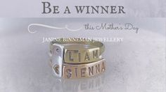 Spoil the amazing mom in your life with personalised gorgeous stacked name rings from local talent Janine Binneman Jewellery this Mother's Day! Name Rings, Stacking Rings, Silver Rings, Day, Jewelry, Jewlery, Jewerly, Schmuck, Jewels