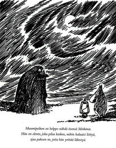 The Groke by Tove Jansson Tove Jansson, Ink Illustrations, Illustration Art, Moomin Valley, Museum Exhibition, Character Drawing, Book Characters, Finland, Fantasy Art
