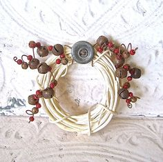 Rustic Country Christmas Mini Wreath Ornament by OldeKettleLane, $25.00