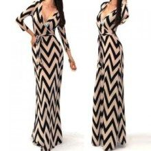 Sexy Plunging Neck 3/4 Sleeve Wave Printed Maxi Dress