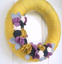 Spring Yarn and Felt Wreath - Felt Flower Wreath - Yellow, Gray, & Purple