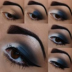 Black blue white makeup tutorial