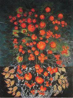 Pommes aux feuilles - Séraphine de Senlis  Séraphine Louis dite Séraphine de Senlis, née  le 3 septembre 1864 morte le 11 décembre 1942  à Villers-sous-Erquery, son œuvre est rattachée à l'art naïf et à l'art brut  Autodidacte, Bergère puis domestique et femme de ménage   Elle peint à la bougie dans un grand isolement. Le collectionneur d'art allemand Wilhelm Uhde, installé à Senlis en 1912 lui apporte son soutien.   En 1930, elle sombre dans la folie.