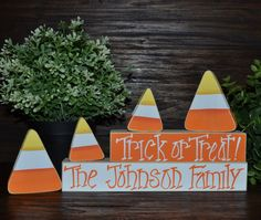 Halloween Decor Block Set Personalized Family Name Decor Halloween Decor…