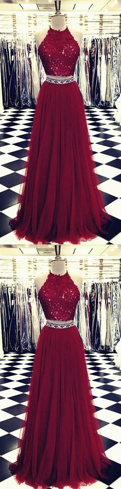 Burgundy Lace Crop Top Tulle Prom Dresses Two Piece Evening Gowns Beaded Sashes P1946