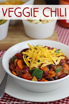 This Veggie Chili recipe is loaded with healthy vegetables and fiber-rich beans – it's great for any occasion from game day to a family dinner.