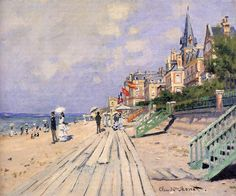 The Beach at Trouville by Claude Monet in oil on canvas, done in Now in the Wadsworth Atheneum. Find a fine art print of this Claude Monet painting. Pierre Auguste Renoir, Claude Monet, Camille Pissarro, Monet Paintings, Landscape Paintings, Landscape Art, Artist Monet, Impressionist Paintings, Wassily Kandinsky