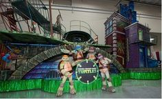 Raphael, Leonardo, Donatello, & Michaelangelo at their new float that is going to be in the Macy's Thanksgiving Day Parade.