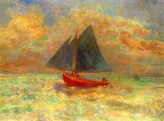 artwork of red boats | Redon: Red Boat with blue sail - Giclee Art Reproduction on Stretched ...