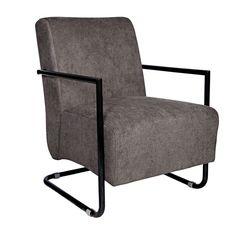 Angelo:HOME Roscoe Black Frame Gray Velvet Armchair