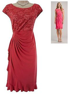 18W 2X NWT Womens CORAL LACE SPARKLY DRESS Cascade Ruffle PLUS SIZE NEW in Clothing, Shoes & Accessories | eBay