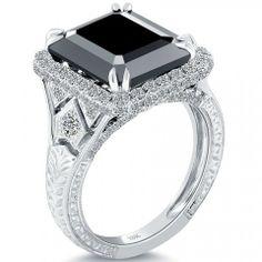 7.63 Carat Certified Emerald Cut Black Diamond Ring 18k Pave Halo Vintage Style