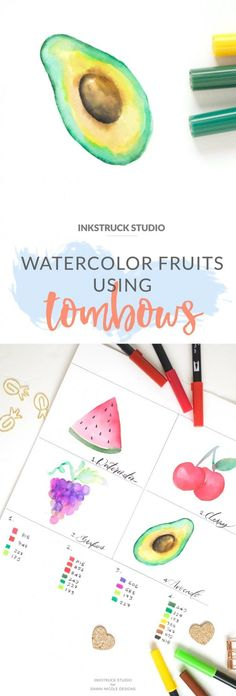 Watercolor fruit tutorial with Tombow brush pens - Inkstruck Studio for Dawn Nicole Designs