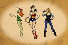 "Kit Olsen, Supergirls in de stijl van Norman ""Sailor Jerry"" Collins Source by sydrichelle Pin Up Girl Tattoo, Pin Up Tattoos, Girl Tattoos, Awesome Tattoos, Poison Ivy Tattoo, Vintage Tattoo Art, Sailor Jerry Tattoos, Batman Tattoo, Sleeve Tattoos For Women"