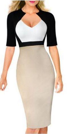 OL Style Women's V-Neck Color Block Half Sleeve Dress #ColorBlock #Dress #Working #Woman #Fashion