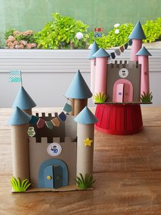 Paper Towel Roll Crafts, Paper Crafts For Kids, Cardboard Crafts, Diy For Kids, Fun Crafts, Diy And Crafts, Arts And Crafts, Cardboard Castle, Toddler Crafts