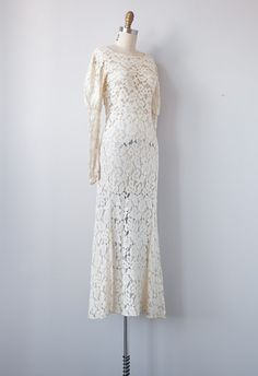 1930s wedding dress / vintage 1930s lace gown / by adoredvintage, $425.00