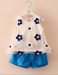 Blusa / Shorts Chica de-Casual/Diario-Floral-Algodón-Verano-Azul / Rosa / Amarillo