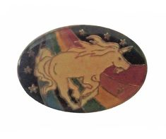 """UNICORN RAINBOW vintage cloisonne pin 1980s magical beauty mlp by VintageTrafficUSA  11.00 USD  A vintage Unicorn pin! Excellent condition. Measures: approx 1"""" 20 years old hard to find vintage high-quality cloisonne lapel/pin. Beautiful die struck metal pin with colored glass enamel filling. Add inspiration to your handbag tie jacket backpack hat or wall. Have some individuality = some flair! -------------------------------------------- SECOND ITEM SHIPS FREE IN USA!!! LOW SHIPPING OUTSIDE…"""