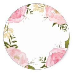 Shop Modern Vintage Pink Floral Wedding Custom Favor Classic Round Sticker created by Jujulili. Personalize it with photos & text or purchase as is! Purple Peonies, Pink Roses, Pink Flowers, Vintage Pink, Vintage Flowers, Frame Floral, Flower Frame, Stationery Printing, Wedding Fonts