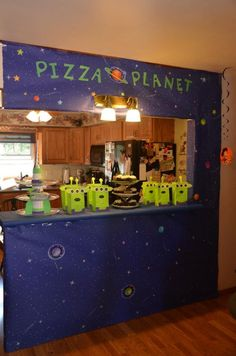 Toy story aliens. Pizza planet theme.