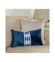 Elegant cushion cover, Passementerie cushion cover, Pattern cover pillow, navy blue velvet, 30x50cm, tape decorative, tape Samuel&Sons