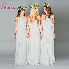 Vestidos de dama de honor Largo Invitado de Boda Vestidos de Una Línea de Split Plisado Colorido Vestidos de Dama de Under $50 Robe Demoiselle D'Honneur