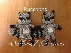 Rainbow Loom RACCOON. Designed and loomed by MarloomZ Creations. click photo for YouTube tutorial. 04/17/14.