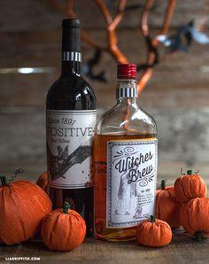 DIY Halloween Printable Bottle Labels