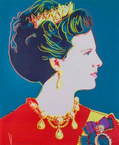 Masterworks Fine Art - Queen Margrethe II of Denmark (Teal) from the Reigning Queens of 1985, is a color screen print by Andy Warhol