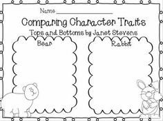 Tops and Bottoms Comparing Character Traits~ FREEBIES - use with Linda Hoyt's Interactive Read-Alouds Kindergarten Freebies, Kindergarten Language Arts, Classroom Language, Kindergarten Reading, Teaching Reading, Reading Resources, Reading Strategies, Reading Activities, Reading Comprehension