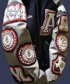 A very stylish varsity letter jacket for cheerleading by customchenillepatches.com