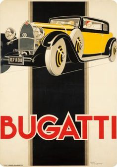 Bugatti, 1930 superb French Art Deco poster by Rene Vincent. Those cars were featured on a lot of them, I guess because it was the common type of car. Art Deco Posters, Car Posters, Retro Poster, Vintage Posters, Modern Posters, Pub Vintage, Vintage Sport, Vintage Style, Kunst Poster