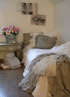 Would love to make a bedspread like this of pure white linens mixed with grays and taupes