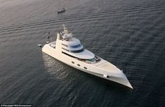 Aerial view: The yacht's helipad and some of its three spa pools with…