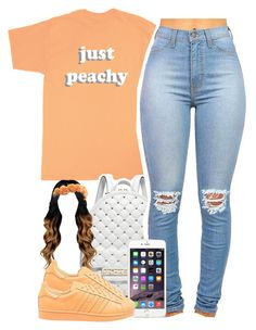 """just peachy"" by yeauxbriana ❤ liked on Polyvore featuring Just Peachy, Michael Kors and adidas Originals"
