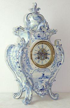 Vintage Royal Bonn Delft Mantel Clock :