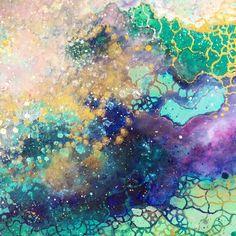 感情の海。深く美しい色彩が波のように漂う抽象絵画 (13)