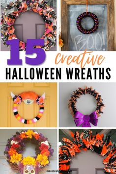 15 creative Halloween wreath ideas that are great for decorating your front door or front porch for Halloween. #domesticallycreative #halloween #wreath Fall Wreaths, Christmas Wreaths, Diy Wreath, Wreath Ideas, Spooky Halloween, Dollar Stores, Easy Diy, Creative, Holiday