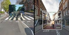 Iconic album covers put in their place using google street view